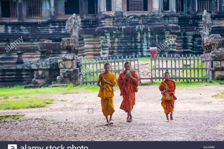 Siem Reap , Cambodia - Oct 17 : Budhist Monks At The Angkor Wat pertaining to Travel To Cambodia In October