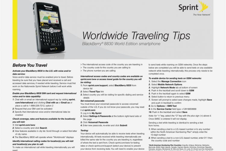 Sprint Nextel Cell Phone 8830 User's Manual | Manualzz for Traveling To Bahamas With Sprint Phone